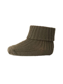 MP Denmark Wool Rib Turn Down Socks - olive