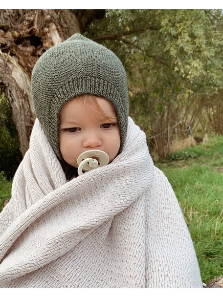 Hvid Merino Wool baby Blanket Dora - off white