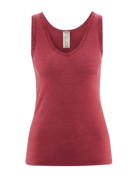 Living Crafts Sleeveless top women of wool / silk - red
