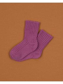 Joha Dikke wollen sokjes - oud roze