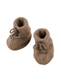 Engel Natur Baby wool fleece booties - walnut