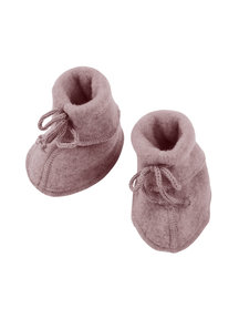 Engel Natur Baby wool fleece booties - woodrose