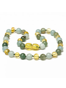 Amber Amber Kids Necklace with Gemstones 38cm - Amazonite/Aventurine
