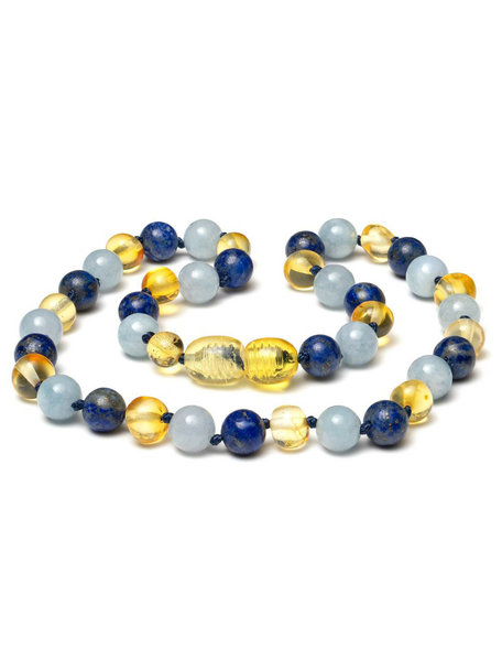 Amber Barnsteen baby ketting met edelstenen 32cm - aquamarijn/lapis lazuli