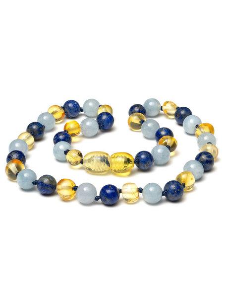 Amber Barnsteen kinder ketting met edelstenen 38cm - aquamarijn/lapis lazuli
