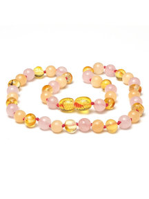 Amber Amber Kids Necklace with Gemstones 38cm - Jade/Rose Quartz