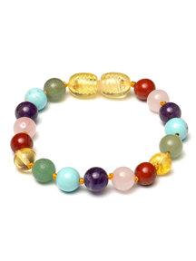 Amber Barnsteen baby armbandje met edelstenen 14cm - regenboog edelstenen
