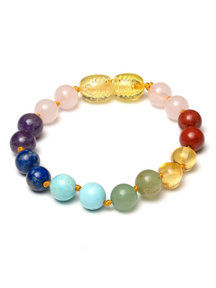 Amber Amber Baby Bracelet with gemstones 14cm - multi gemstones