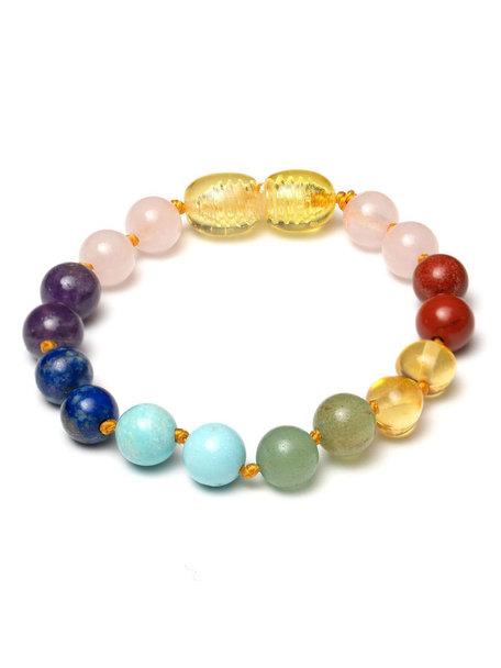 Amber Amber Baby Bracelet with gemstones 14cm - multi gemstones