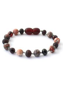 Amber Barnsteen kinder armband met edelstenen 16cm - cherry/luipaard jaspis