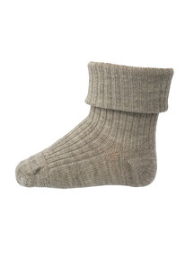 MP Denmark Wool Rib Turn Down Socks - sand