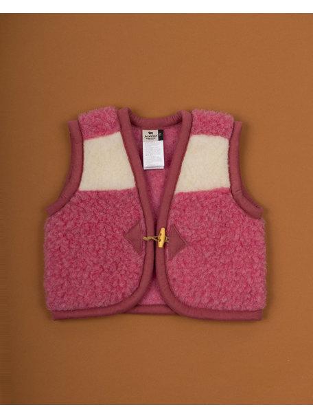 Alwero Hesje van wol pluche - naturel/roze