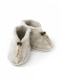 Alwero Slofjes van wol pluche - grijs