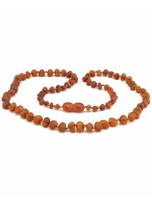 Amber Dames barnsteenketting 45cm - cognac raw