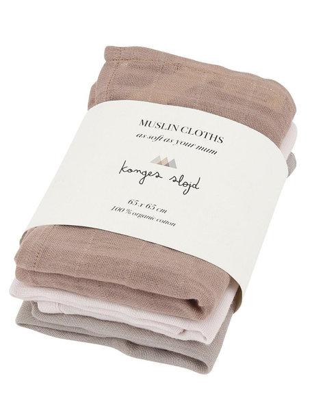 Konges Sløjd Hydrofiele doeken 3-pak - oud roze