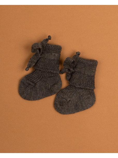 Hirsch Natur Wollen newborn sokjes - bruin