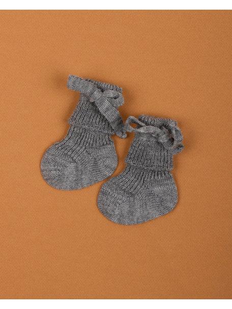 Hirsch Natur Wollen newborn sokjes - grijs