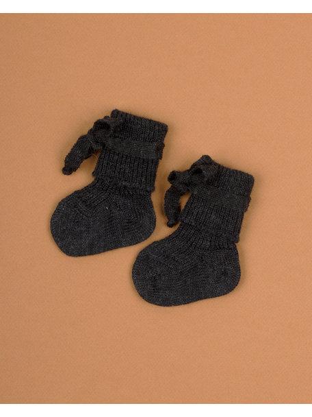 Hirsch Natur Wollen newborn sokjes - antraciet