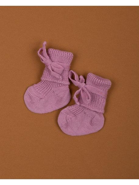 Hirsch Natur Wollen newborn sokjes - roze