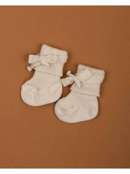 Hirsch Natur Wollen newborn sokjes - wit/naturel