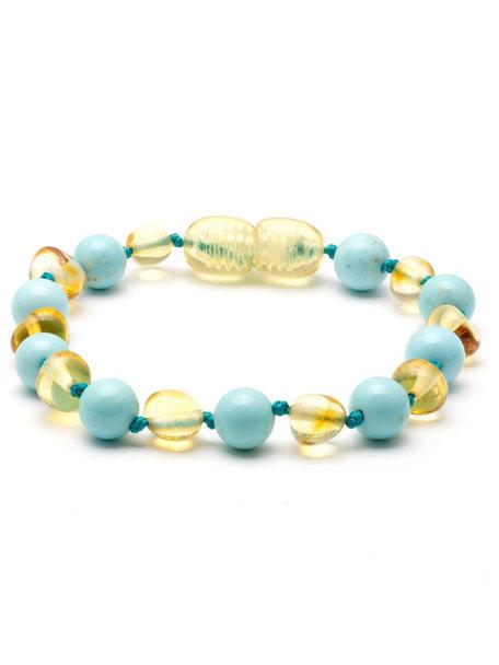 Amber Barnsteen baby armbandje met edelstenen 14cm - turkoois/lemon