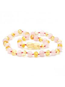 Amber Dames barnsteenketting met edelstenen 45cm - rozenkwarts/lemon