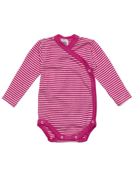 Cosilana Wikkelromper gestreept van wol/zijde - roze