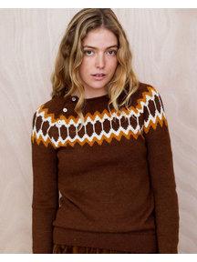Serendipity Noorse dames trui van alpaca - rust