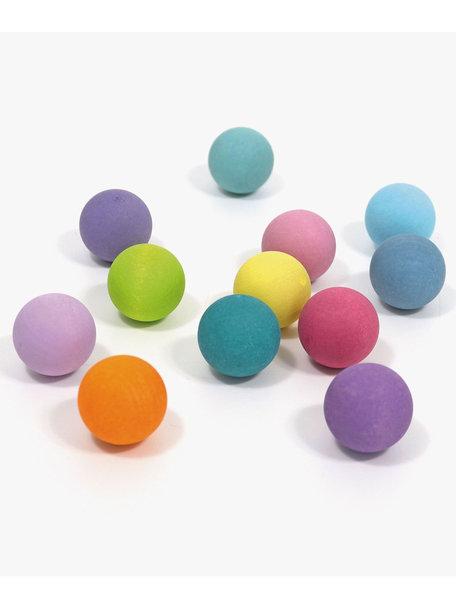 Grimm's Kleine houten ballen 12 stuks - pastel
