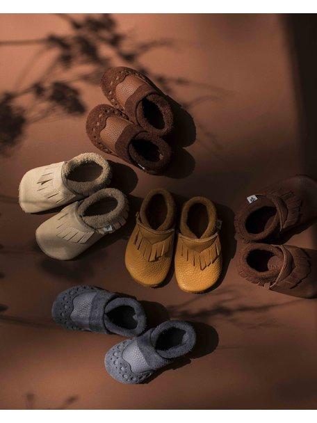 Pantolinos Leren baby mocassins - grijs