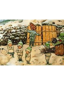 Boeken & Kaarten Elsa Beskow kaart - Kabouterkinderen in de sneeuw