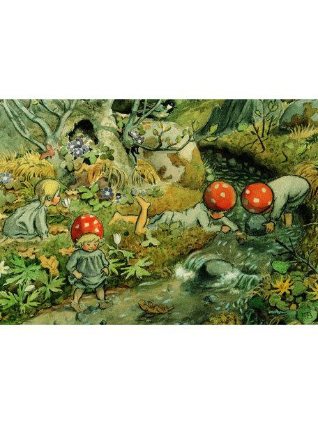 Boeken & Kaarten Elsa Beskow kaart - Lente, kabouterkinderen bij de beek