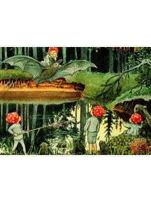 Boeken & Kaarten Elsa Beskow kaart - Kabouterkinderen en de vleermuis