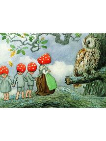 Boeken & Kaarten Elsa Beskow kaart - Kabouterkinderen bij de uil