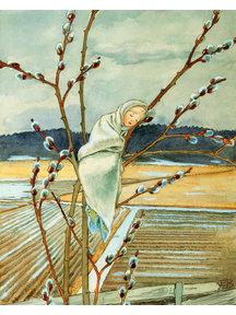 Boeken & Kaarten Elsa Beskow kaart - Voorjaar, kindje tussen de Wilgenkatjes