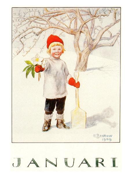 Elsa Beskow Elsa Beskow kaart - Januari