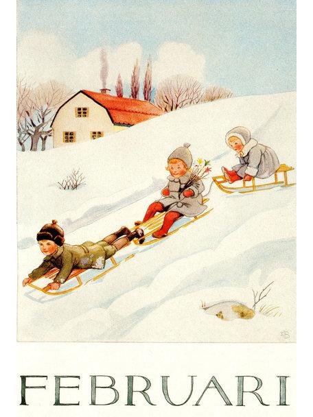 Elsa Beskow Elsa Beskow kaart - Februari