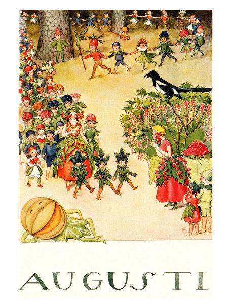 Boeken & Kaarten Elsa Beskow kaart - Augustus (Augusti)
