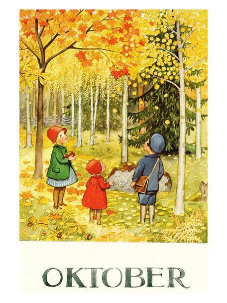 Elsa Beskow Elsa Beskow kaart - Oktober