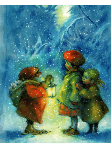 Elsa Beskow Elisabeth Nyman kaart - Ontmoeting in de sneeuw