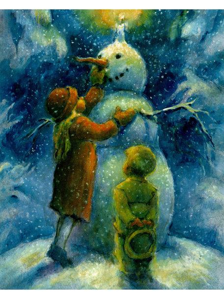Elsa Beskow Elisabeth Nyman kaart - De sneeuwpop