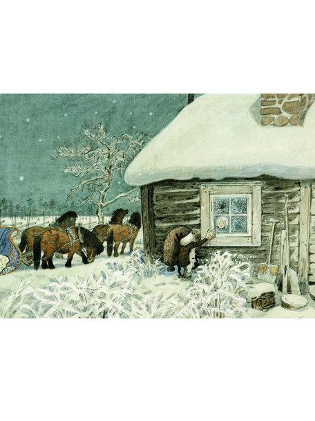 Elsa Beskow Harald Wiberg kaart - Tomte in de sneeuw