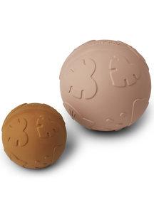 Liewood Set van 2 speelballen van rubber - roze/mustard
