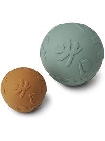 Liewood Set van 2 speelballen van rubber - mustard/peppermint