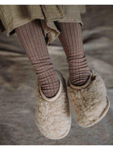 Alwero Sloffen van wol pluche - beige