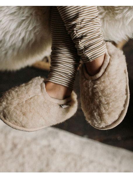Alwero Dames sloffen van wol pluche - beige