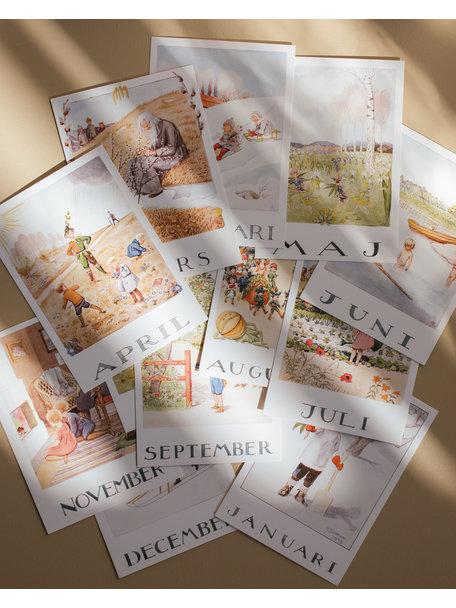 Boeken & Kaarten Elsa Beskow set maand kaarten (12 stuks)