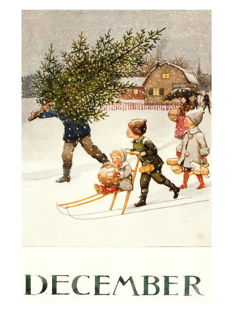 Elsa Beskow Elsa Beskow kaart - December