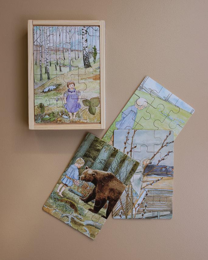 Elsa Beskow 4 houten puzzels - Natuur