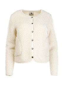 Alwero Dames vest met drukknopen van wol - naturel